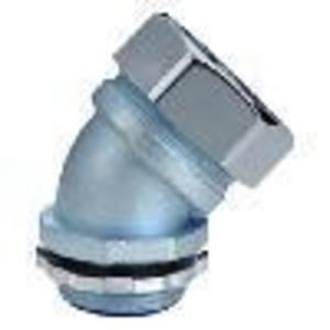 """Cooper Crouse-Hinds LT7545 Liquidtight Connector, 45°, 3/4"""", Non-Insulated, Malleable Iron"""