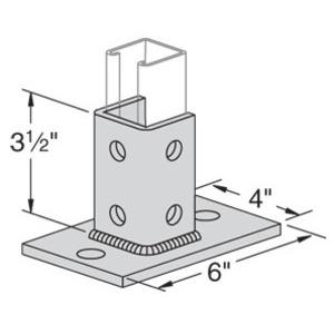 "Power-Strut PS3025-FL-EG Strut Post Base, Square, Double, 6"" X 4"" X 3-1/2"", Steel"