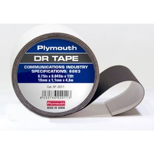 "Plymouth 02013 Double Rubber Tape, Non-Adhesive, Black, 2"" x 15'"