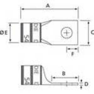 "Thomas & Betts 60118-TB Compression Lug, 1-Hole, Long Barrel, Aluminum, 2 AWG, 3/8"" Stud Size"
