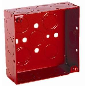 "Hubbell-Raco 911-9 4"" Square, Red Alarm Box, Welded, Depth: 1-1/2"", Metallic"