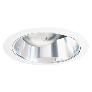 "Juno Lighting 26-CWH Cone Trim, Straight, 6"", Clear Alzak Reflector/White Trim"