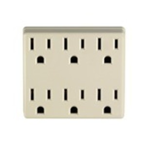 Leviton 6ADPT-I 6 outlet grounding adapter, 3 wire, 15a/125v, cof:ivory, packed 1 header / 5 inner box / 30 master