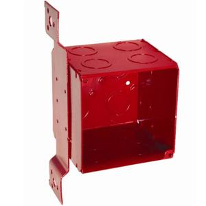 "Hubbell-Raco 911-1 4"" Square Red Alarm Box, 1/2"" & 3/4"" KOs, Welded, Metallic"