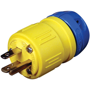Ericson 1510-P Plug, Perma-Link, 15A 125V, 2P3W, Indoor, Safety Yellow