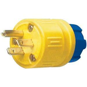 Ericson 1510-PG Plug, Perma-Link, 15A 125V, 2P3W, Outdoor, Safety Yellow