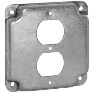 "Hubbell-Raco 902C 4"" Square Exposed Work Cover, (1) Duplex Receptacle"