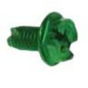 "Metallics GSH23 Grounding Screw, Hex Washer Combo Head, #10-32 x 3/8"", Green,"