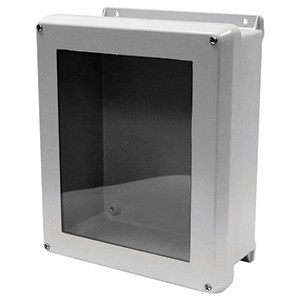 "GE VJB1816HWPL2 Junction Box, NEMA 4X, Hinged Window, 18"" x 16"" x 10"", Fiberglass"