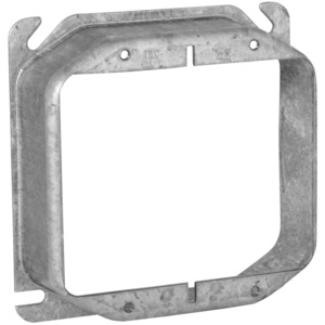 "Hubbell-Raco 781 4"" Square Cover, 2-Device, Mud Ring, 1-1/4"" Raised, Drawn, Metallic"