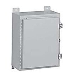 "Hubbell-Wiegmann N12242408 Enclosure, NEMA 12, Continuous Hinge, 24 x 24 x 8"", Steel"