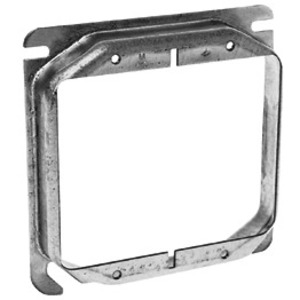 "Hubbell-Raco 769 4"" Square Cover, 2-Device, Mud Ring, 5/8"" Raised, Drawn, Metallic"