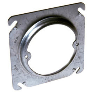 "Hubbell-Raco 756 4"" Square Fixture Cover, Mud Ring, 5/8"" Raised, Drawn, Metallic"