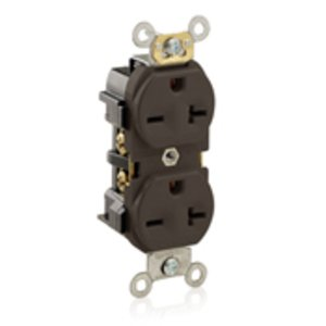 Leviton 5824 20A Duplex Receptacle, 250V, 6-20R, Brown, Back/Side Wired, Spec Grade