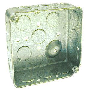 "Hubbell-Raco 190 4"" Square Box, Drawn, Metallic, 1-1/2"" Deep"