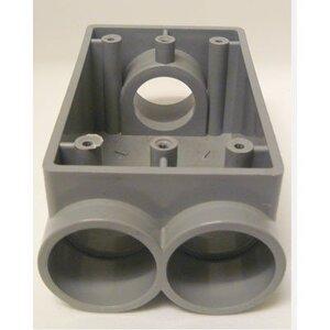 """Cantex 5133545 PVC Device Box, 1-Gang, 3/4"""" Hubs, Depth: 2-3/8"""", Type: Feed-Thru"""