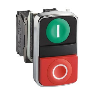 Square D XB4BL73415 Push Button, 2 Button, Green/Red, Flush/Extended, Momentary, NO/NC