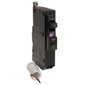 Square D QOB120EPD Breaker, Bolt-On, 20A, 1P, 120/240VAC, QOB Type, 10 kAIC, EPB