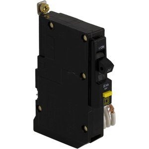 Square D QOB120VHGFI Breaker, Bolt-On, GFCI, 20A, 1P, 120VAC, QOB Type, 22 kAIC, 6mA