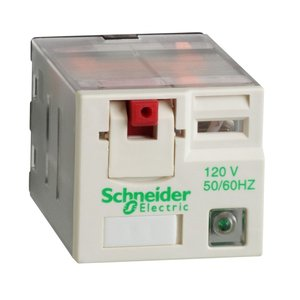 Square D RPM32F7 Relay, Plug-In, 15A, 120VAC Coil, LED, Test Button, Lock-Down Door