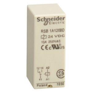 Square D RSB1A120BD Relay, Plug-In, Interface, 12A, 250VAC, 28VDC, 24VDC, 8 Blade