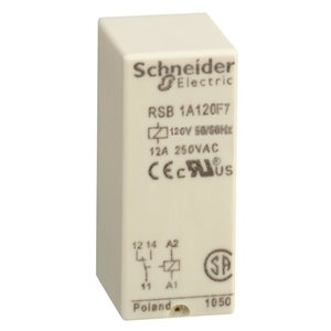 Square D RSB1A120F7 Relay, Plug-In, Interface, 12A, 250VAC, 28VDC, 120VAC Coil, 8 Blade