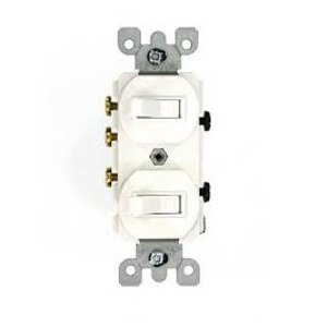 Leviton 5241-WS 15 Amp Duplex Combination Switch, White