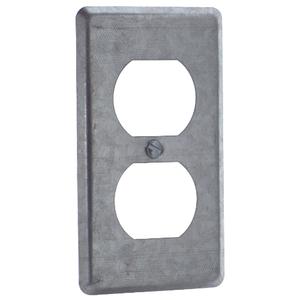 Steel City 58-C-7 Handy Box Cover, Type: (1) Duplex Receptacle, Drawn, Metallic