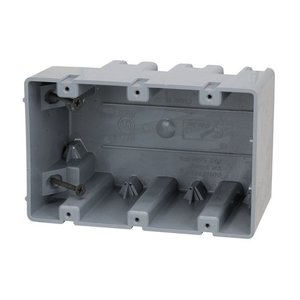 "Madison MSB3G Switch/Outlet Box, 3-Gang, 3-1/4"" Deep, Non-Metallic"