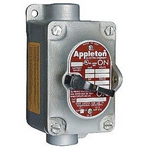 "Appleton EDSC2129 Explosionproof Tumbler Switch, 1-Gang, 20A, 120/277V, 3/4"" Hub"