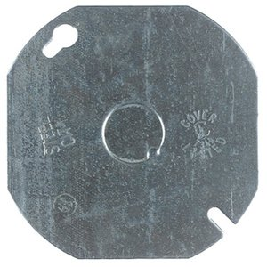 "Steel City 54-C-6 4"" Octagon Box Cover, Flat, 1/2"" KO, Steel"