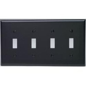 Leviton 80712-E Toggle Switch Wallplate, 4-Gang, Nylon, Black