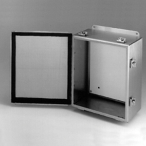 "Cooper B-Line 12126-4XSCHC Junction Box, NEMA 4X, Hinge Cover, Stainless Steel, 12"" x 12"" x 6"""
