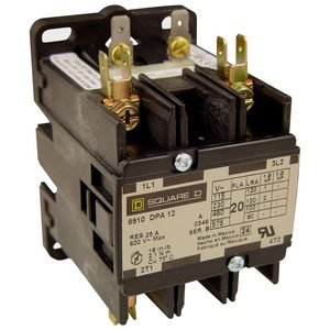 Square D 8910DPA22V02 Contactor, Definite Purpose, 25A, 600VAC, 120VAC Coil, 1PH, 2P