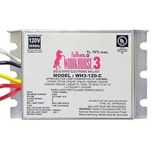 Fulham WH3-120-C Electronic Ballast, Fluorescent, T8, 3-Lamp, 32W, 120V