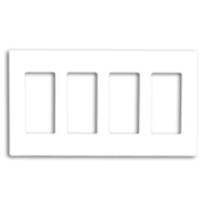 Leviton 80312-SW Decora Wallplate, 4-Gang, Polycarbonate, White, Screwless