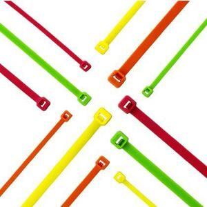 "Panduit PLT2S-C55 Locking Cable Tie, 7.4"" Length, Nylon, Fluorescent Green"