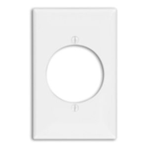 "Leviton 80728-W Power Outlet Wallplate, 1-Gang, 2.15"" Hole, Nylon, White, Midway"