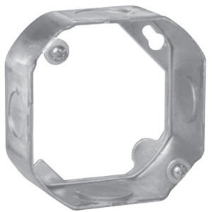 "Cooper Crouse-Hinds TP284 4"" Octagon Box Extension Ring, 1-1/2"" Deep, 1/2"" KOs, Metallic"