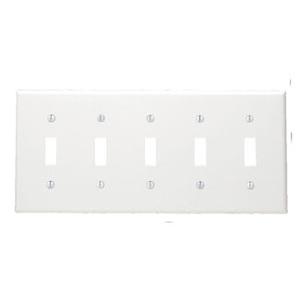 Leviton 80723-W Toggle Switch Wallplate, 5-Gang, Nylon, White