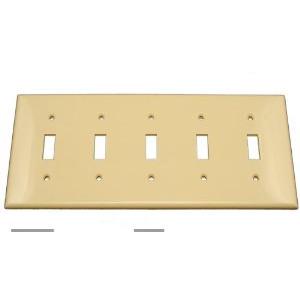 Leviton 80723-I Toggle Switch Wallplate, 5-Gang, Nylon, Ivory