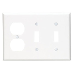 Leviton 80721-W Comb. Wallplate, 3-Gang, (2) Toggle, (1) Duplex, Nylon, White
