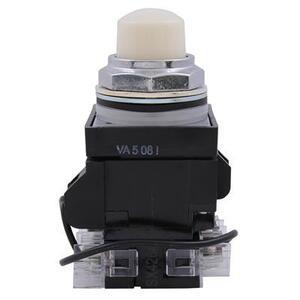 GE CR104PLT82W Pilot Light, Push to Test, 30mm, White, 120V AC/DC, 120V LED