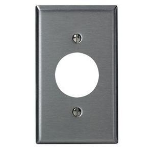 "Leviton 84004-40 1-Gang Single Rcpt Wallplate, (1) 1.406"" Hole, 302 S. Steel"