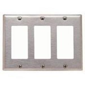 Leviton 84411-40 Decora Wallplate, 3-Gang, 302 Stainless Steel