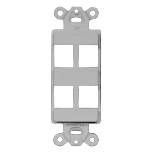 Hubbell-Premise ISF4GY Multimedia Outlet System Insert, Decora Insert, 4 Port, Gray