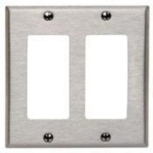 Leviton 84409-40 Decora Wallplate, 2-Gang, Type 302 Stainless Steel