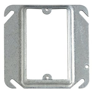 "Steel City 52-C-15 4"" Square Cover, 1-Device, Mud Ring, 1"" Raised, Drawn, Metallic"