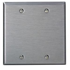 Leviton 84025 Blank Wallplate, 2-Gang, Stainless Steel Standard, Box Mount