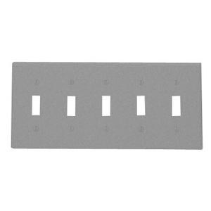 Leviton 84023-40 Toggle Switch Wallplate, 5-Gang, 302 Stainless Steel